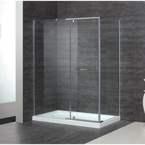 """Aston 60 x 35-inch 5/16"""" Clear Glass Semi-Frameless Shower Enclosure with Acrylic Base"""