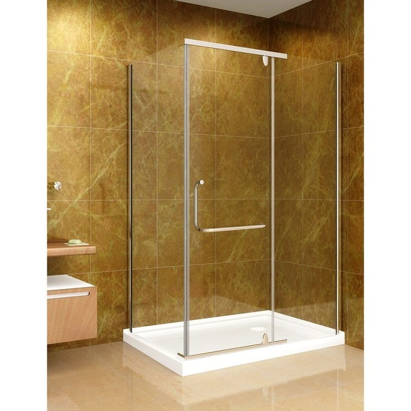Aston Clear 48x35-inch Glass Shower Enclosure (8mm) with Base