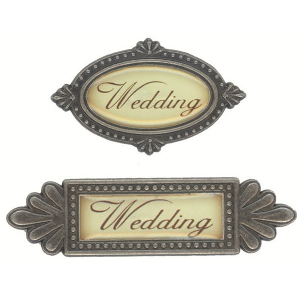Fabscraps Wedding Metal 2-piece Word Embellishment
