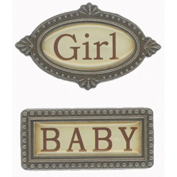 Fabscraps 'Baby Girl' 2-piece Metal Word Embellishment