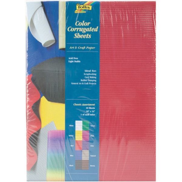 Global Arts Materials Classic Folia Corrugated Paper (Pack of 10)