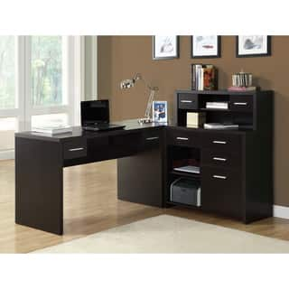 desk decorating hutch furniture using office black and wooden l shaped design shelves interesting rectangular with desks inspiring home combine sh interior ideas drawers