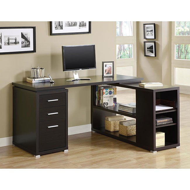 Cappuccino Hollow Core L Shaped Computer Desk Free
