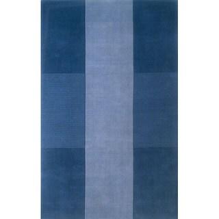 Manhattan Blue Hand-Loomed Wool Rug (8' x 11')