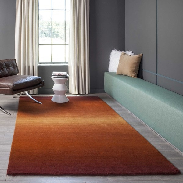 Manhattan Ombre Orange Hand-Loomed Wool Rug (5' x 8')
