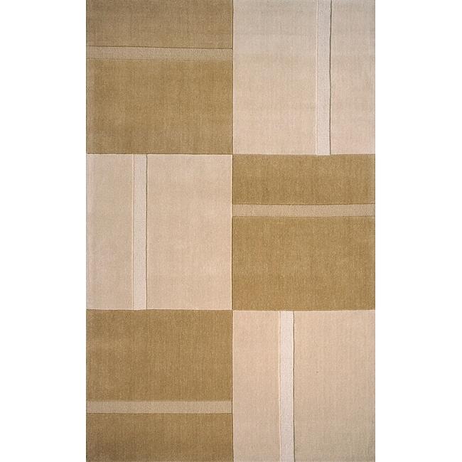 Manhattan Large Blocks Beige Hand-Loomed Wool Rug (8' x 11')