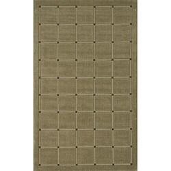 "Manhattan Small Blocks Sage Hand-Loomed Wool Rug (2'3"" x 3'9"")"