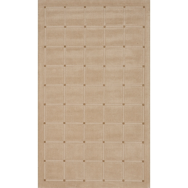 Manhattan Small Blocks Oatmeal Hand-Loomed Wool Rug (8' x 11')