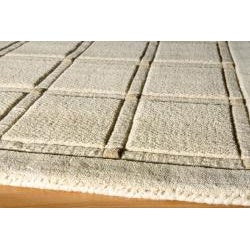 Manhattan Small Blocks Oatmeal Hand-Loomed Wool Rug (8' x 11') - Thumbnail 1
