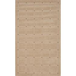 Manhattan Small Blocks Oatmeal Hand-Loomed Wool Rug (8' x 11')