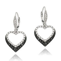 DB Designs Sterling Silver Black Diamond Accent Leverback Heart Earrings