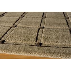 Manhattan Small Blocks Light Brown Hand-Loomed Wool Rug (5'0 x 8'0)