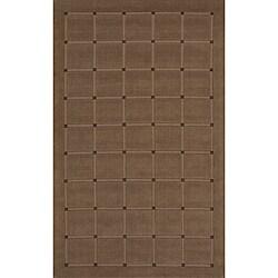 Manhattan Small Blocks Light Brown Hand-Loomed Wool Rug (8'0 x 11'0)
