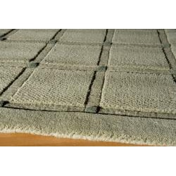 Manhattan Small Blocks Sage Hand-Loomed Wool Rug (5' x 8') - Thumbnail 1