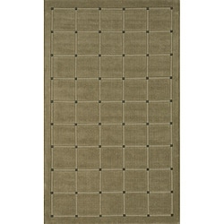Manhattan Small Blocks Sage Hand-Loomed Wool Rug (5' x 8')
