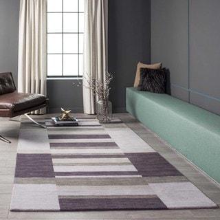 Manhattan Shades of Purple Hand-Loomed Wool Rug (8' x 11')