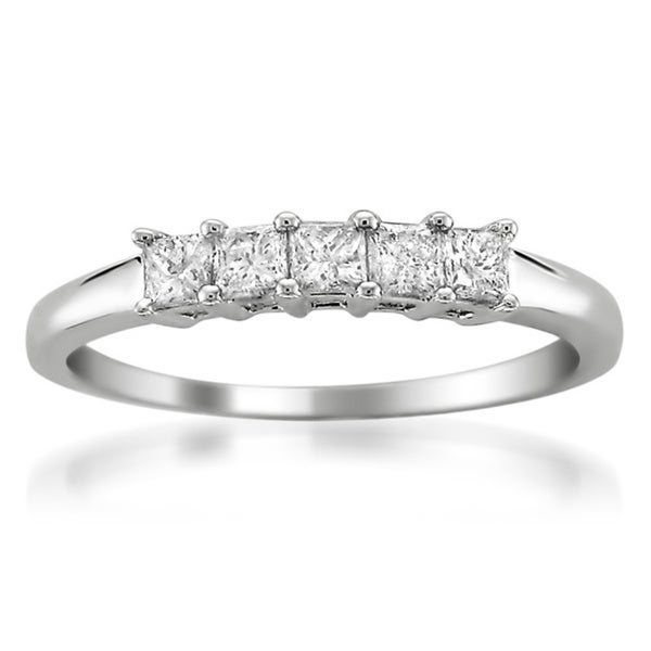Brides Across America by Montebello 14k White Gold 1/2ct TDW Princess-cut Diamond Wedding Band (G-H, I1)