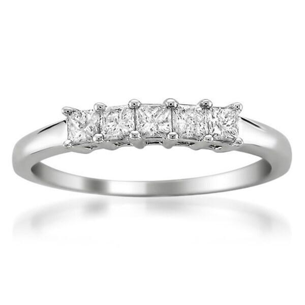 Montebello 14KT White Gold 1/2ct TDW Princess-cut Diamond Wedding Band