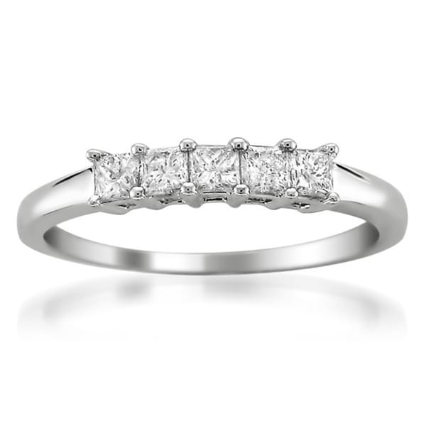Montebello 14k White Gold 1/2ct TDW Princess-cut Diamond Wedding Band (G-H, I1)