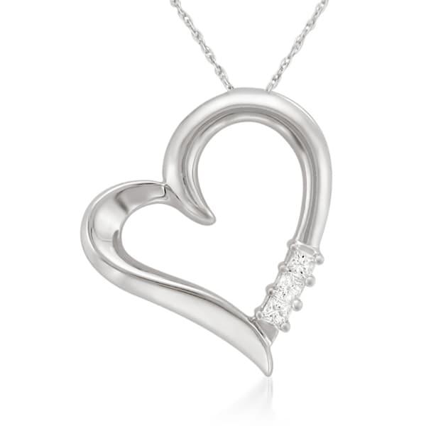 Montebello 14k White Gold 1/10ct TDW Princess-cut Diamond Heart Necklace (I-J, I2)