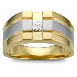 Montebello 14k Two-tone Gold 1/4ct TDW Men's Diamond Ring (H-I, I1-I2)