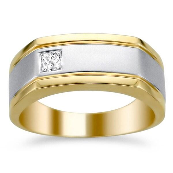 Montebello 14k Two-tone Gold 1/5ct TDW Diamond Men's Wedding Band (H-I, I1-I2)