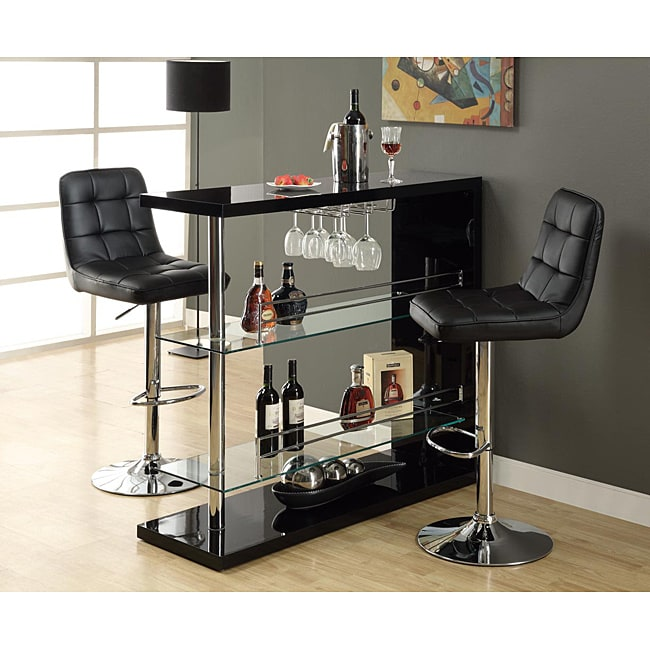 Black And Chrome Metal 48 Inch Bar Table 13863461