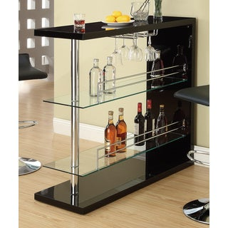 Oliver & James Okada Black and Chrome 48-inch Bar Table