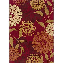 Berkley Red Floral Transitional Area Rug (5'3 x 7'6)