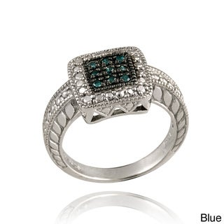DB Designs Sterling Silver 1/10ct TDW Colored Diamond Square Ring