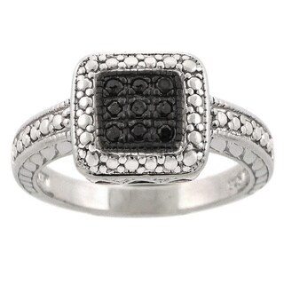 DB Designs Sterling Silver 1/10ct TDW Colored Diamond Square Ring (Option: Brown)