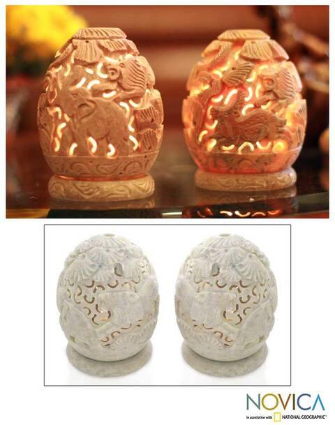 Handmade Jungle Party Soapstone Candleholder, Set of 2 (India)