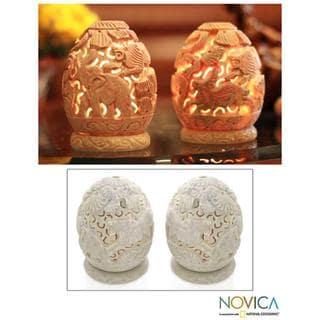 Link to Handmade Jungle Party Soapstone Candleholder, Set of 2 (India) Similar Items in Aromatherapy & Massage