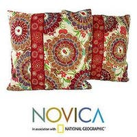 Handmade Set of Two Polyester 'Floral Explosion' Cushion Covers (India)