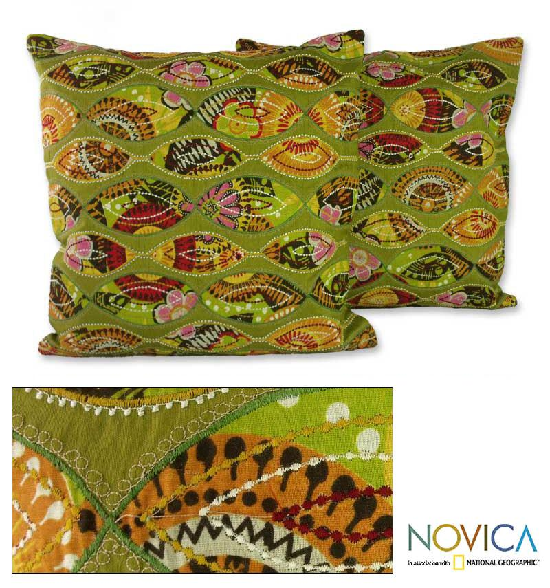 Set of Two Polyester 'Meeting Eyes' Cushion Covers , Handmade in India