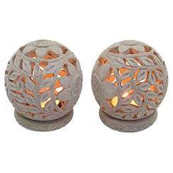 Handmade Sunflowers Soapstone Candleholder, Set of 2 (India)