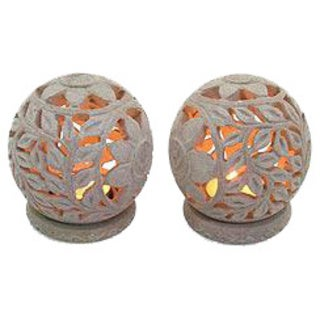 Handmade Set of 2 Soapstone 'Sunflowers' Candle Holders (India)
