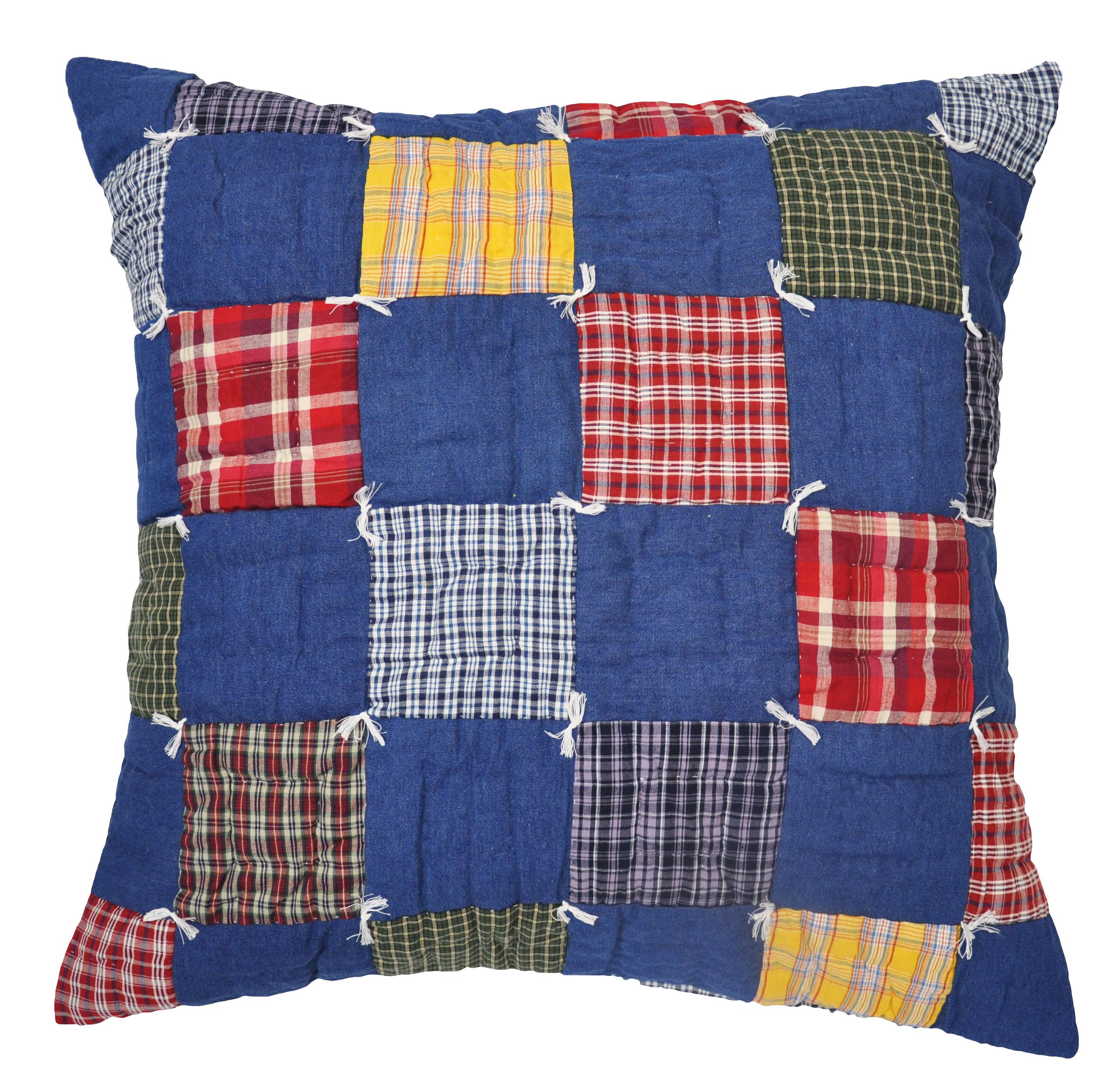 Caftan Traditional Patchwork Denim Euro Throw Pillow
