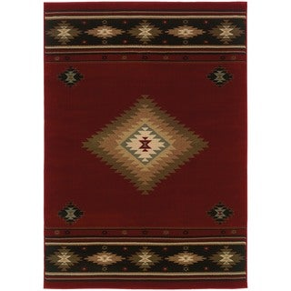 Red/Green Traditional Area Rug (6'7 x 9'6)