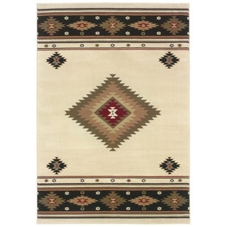 Beige/Green Traditional Area Rug (6'7 x 9'6)