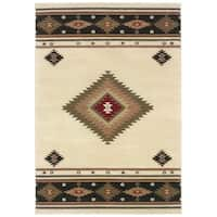 "Beige/Green Traditional Area Rug (6'7 x 9'6) - 6'7"" x 9'6"""