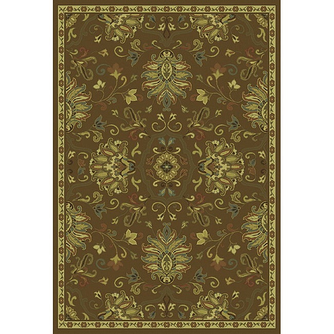"Green/Beige Traditional Area Rug (6'7 x 9'6) - 6'7"" x 9'6"""