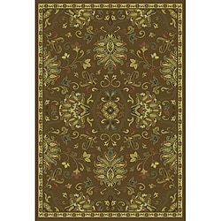 "Green/Beige Traditional Area Rug (6'7 x 9'6) - 6'7"" x 9'6"" - Thumbnail 0"
