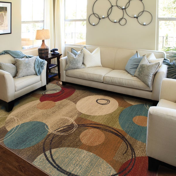 "Gold/Brown Contemporary Area Rug (6'7 x 9'6) - 6'7"" x 9'6"""