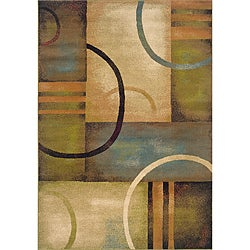 Blocks and Circles Blue/ Green Area Rug (6'7 x 9'6)