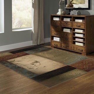 Beige/Green Transitional Area Rug (6'7 x 9'6)