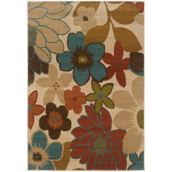 """Copper Grove Wyndham Ivory and Gold Floral Area Rug - 6'7"""" x 9'6"""""""
