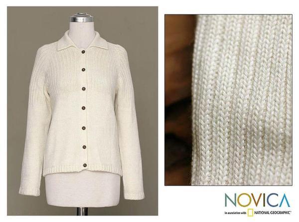 Alpaca Wool Blend Women's 'Cream Puff' Cardigan Sweater (Peru)