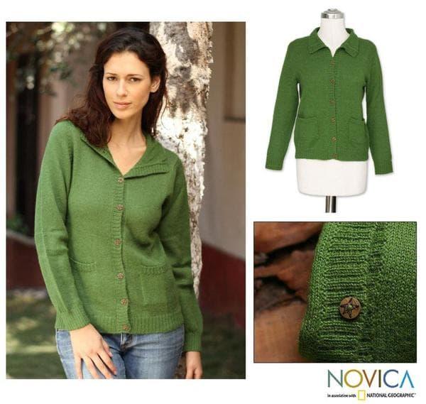 Handmade Women's Alpaca Wool Blend 'Spearmint' Cardigan Sweater (Peru)