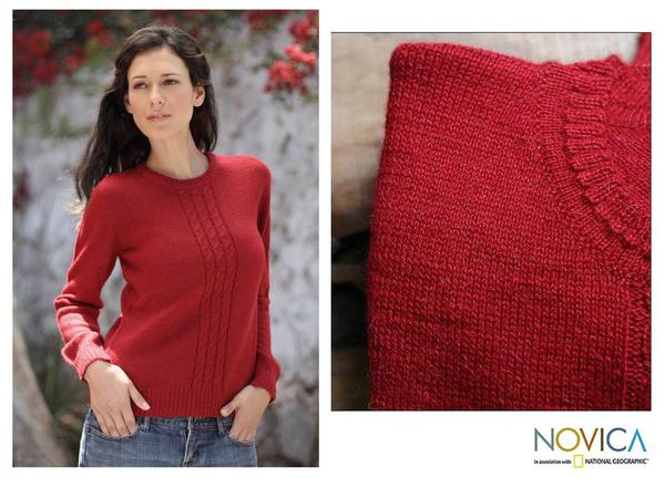 Handmade Women's Alpaca Wool 'Andean Fire' Sweater (Peru)